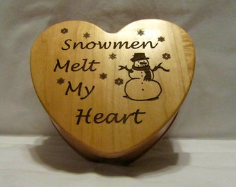 Personalized Heart Keepsake Box- Snowmen Melt My Heart