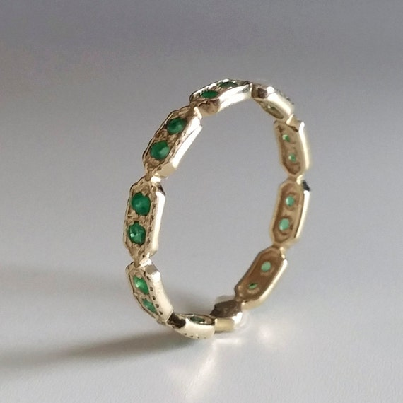 Emerald Eternity ring Green stone ring thin band dainty