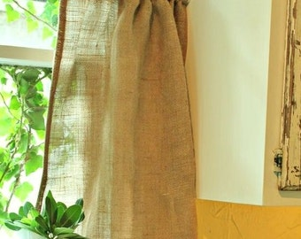 "Cafe Curtain - Rustic Curtain - Burlap Cafe Curtain - Kitchen Drape - Burlap Curtain 53"" x 24"""