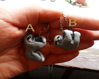 Sloth Necklace - Animal Pendant Necklace - Ploymer Clay Jewelry - Polymer Clay Necklace