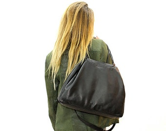 Sale!!! Large leather tote bag in black, Casual everyday shopper or cross body bag, Soft leather