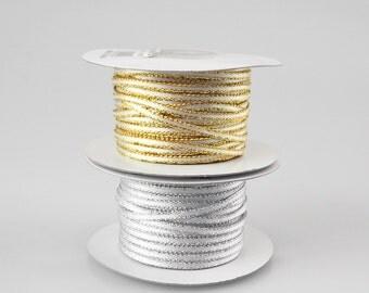Satin Ribbon with Metallic Edge, 1/8-inch, 50-yard