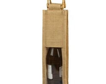 Clear Window Jute Wine Bag Wooden Handle, 1 Bottle, 14-inch, 5-Piece