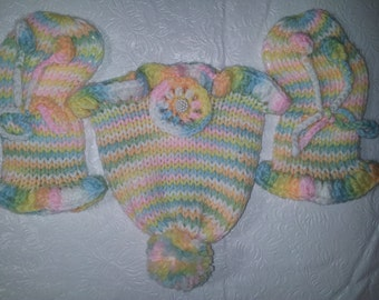 Handmade Baby Knitted Hat & Booties