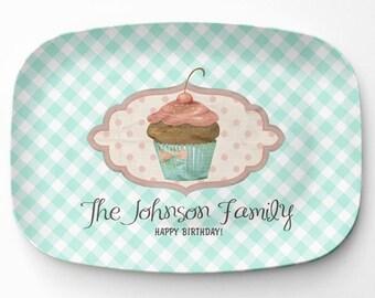 Melamine Cupcake Platter, Personalized Birthday Serving Platter, Melamine Platter, Personalized Serving Tray, Cupcake Decor