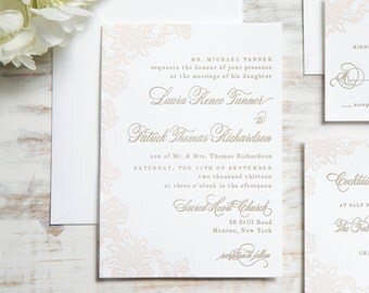 The Laura Suite | Floral Lace Letterpress Wedding Invitation SAMPLE