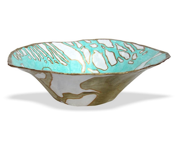 Decorative Bowl Paper Mache Bowl Home Decor Accent Bowl Mint Taupe And Gold Coffee Table