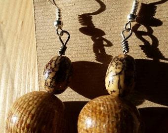 Handmade Earthy Lightweight Nut and Wicker Ball Earrings