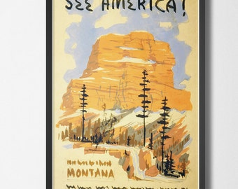 Vintage Travel Poster See America - Welcome to Montana