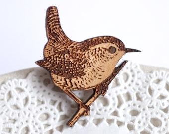 Wren Brooch, Wooden Bird Brooch, Mother's Day Gift, Wren Bird Jewellery, Wren Jewelry, Garden Bird Pin, Wren Bird Gift, Bird Jewellery