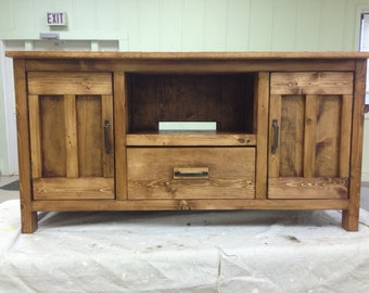 solid pine stained entertainment and media center