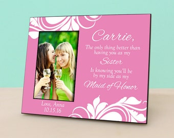 Wedding Gift Bags For Parents : bridesmaid wedding gift personalized picture frame wedding gift photo ...