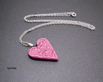 Sterling silver pink ceramic heart pendant necklace~Pink heart pendant~Sterling silver heart necklace~Ceramic heart pendant~Pink heart