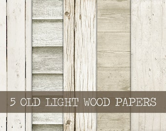 5 Digital Old Wood Papers - INSTANT DOWNLOAD - White Wood Texture Paper 12x12 Light Wood Paper Background - Digital Paper Set - Print JPG