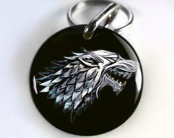 Pet ID tags Dog Tags Dog Collar Pet ID Tags Game of Thrones Direwolf Stark - Black