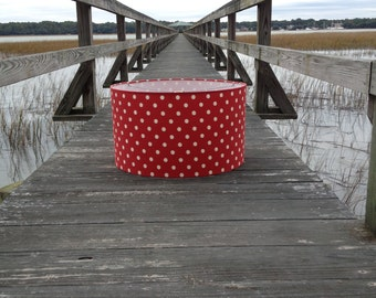 Drum Lamp Shade Red and White Ikat Polka Dot Lampshade