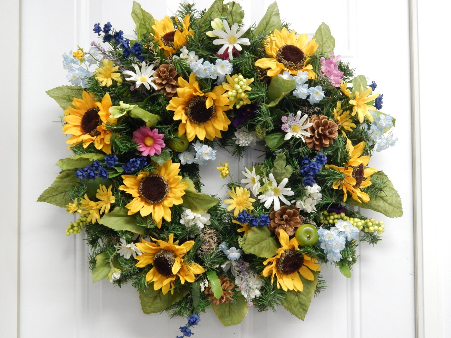 Spring Wreath Summer Wreath Sunflower Wreath Mothers Day
