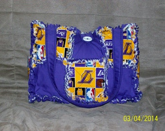 LA Lakers Purple Yellow NBA  Rag Quilt Diaper Bag Tote Purse Hand Crafted