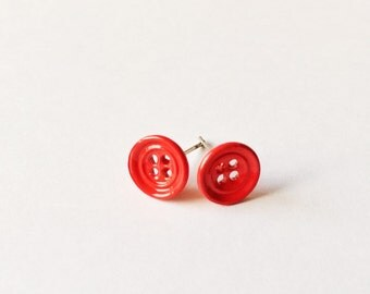 Little Red Button Earrings - Red earrings - Fashion earrings - Red Button - Post earrings - Stud earrings - Button earrings