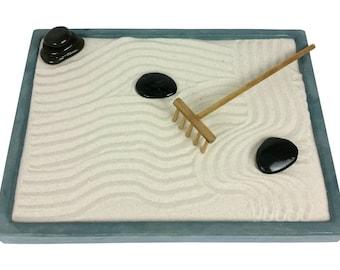Teal Concrete Mini Zen Garden