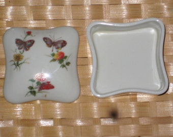 Vintage Takahashi San Francisco Made in Japan Butterfly and Flowers Design Trinket Box