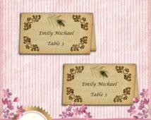 Rustic Wedding Escort Card Template, Place Card Tent Style - Vintage Peacock Feather - DOWNLOAD Instantly - EDITABLE TEXT in Word
