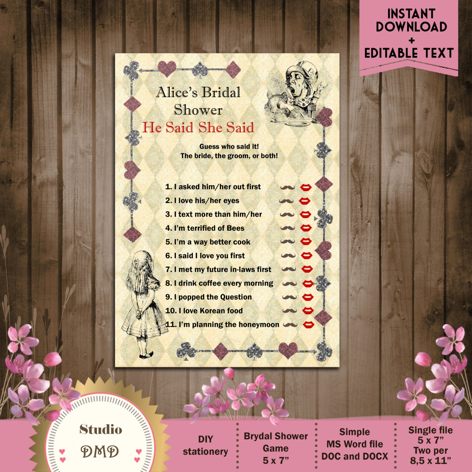 He Said She Printable Bridal Shower Game Alice In Wonderland Mad Hatter Tea Party DOWNLOAD Instantly EDITABLE TEXT Word