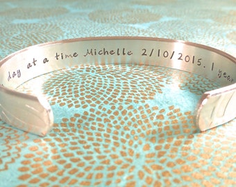 Sober Gift | Recovery Gift | Healing Gift | One day at a time (name) (Date) 1 year sober | Custom Hand Stamped Bracelet by MadeByMishka.com
