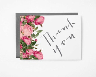 Printable Thank You Card - Instant Download - 4x6 - 5x7 - DIY - Vintage Roses - Thank You  - Stationary