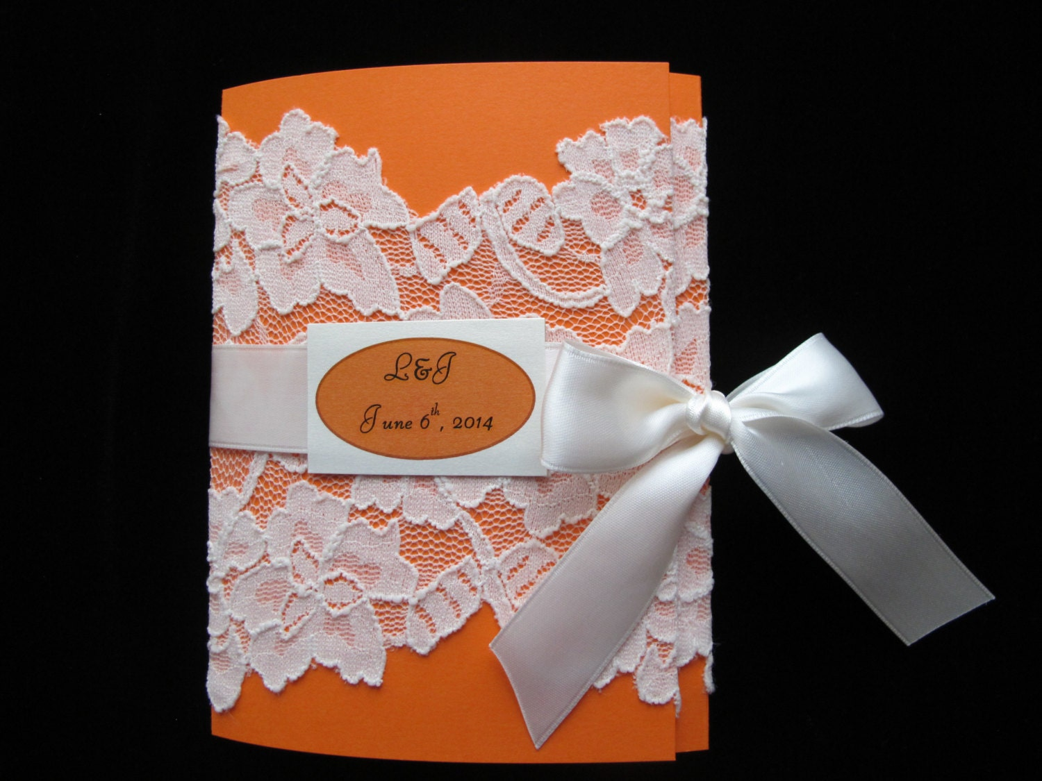 E Card Wedding Invitation: Orange Wedding Invitation Ivory Lace Wedding Card