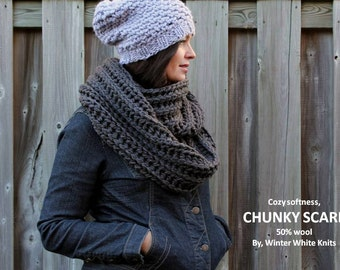 CHUNKY KNIT SCARF, dark grey scarf, knit scarf in Charcoal Grey, 50% wool/acrylic scarf, available in 16 colors, soft and cozy, winter scarf