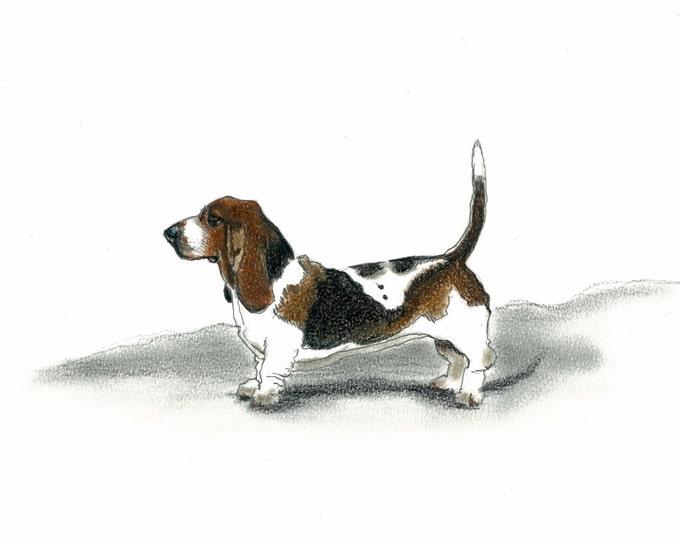 Basset Hound Dog Art Vintage Style Print