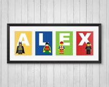 Personalized Name Print - Master Builders - Kids Room Decor - Childrens Room - Superhero Decor - Indivdual 4x6, 5x7 or 8x10 Prints