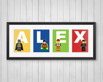 Personalized Name Print - Master Builders - Kids Room Decor - Childrens Room - Superhero Decor - Indivdual 4x6, 5x7 or 8x10 Prints