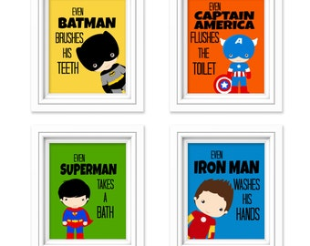 Superhero Bathroom Prints - Kids Bathroom Decor - Comic Book Print - Super Hero Bathroom - Superhero Bathroom Set of 4 Prints