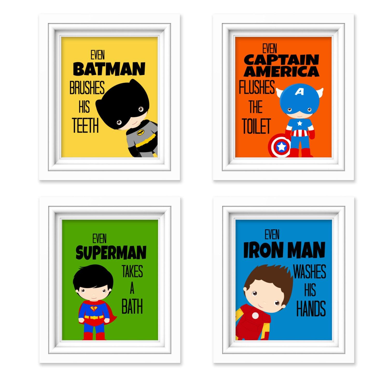 Superhero Bathroom Prints Kids Bathroom Decor Comic Book