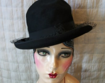 30s Jet black Vintage hat Mourning Flapper Ladies Top Hat Veil V97
