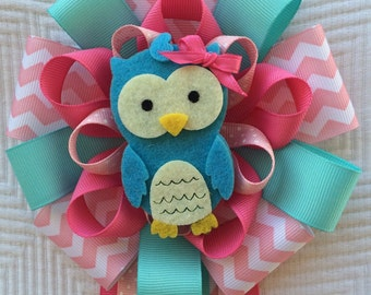Pink Baby Shower Owl Corsage Its A Girl Corsage Blue Owl Baby Shower Pin