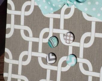 "Magnetic Board - Fabric Covered Magnet Board (12"" x 18"") Decorative Bulletin Board Command Center, fabric Wedding Bulletin Board"