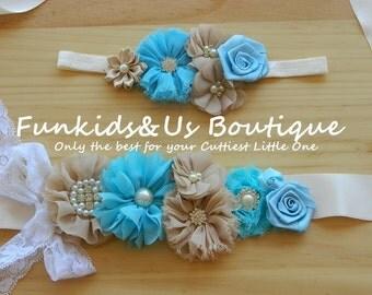 Stunning Vintage Cream Blue Maternity Sash and Headband /Bridal Sash/Flower girl sash /Maternity photoprops/Belt/ Flower girl sash