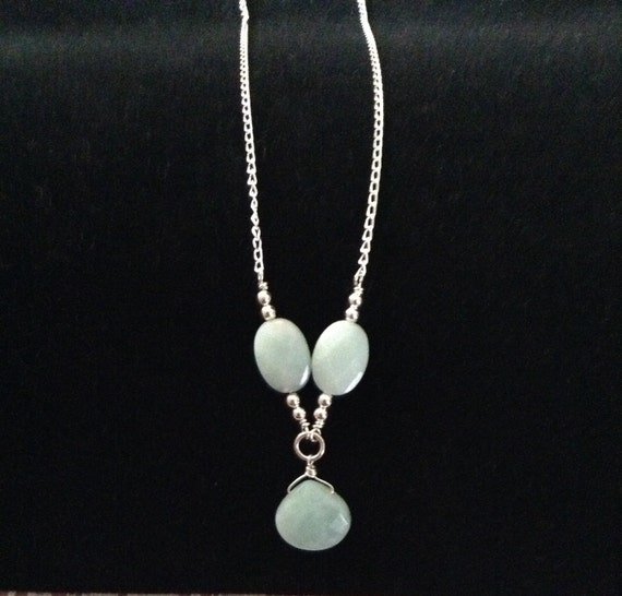 Amazonite Y Necklace on Sterling Silver Chain NSS6151798