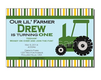 Tractor Invitation Birthday Party - DIGITAL or PRINTED