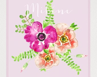 Clipart digital Hand Drawn. Miléne. Romantic wedding clipart, watercolors. Purple and orange flower bright bouquet blog, cards, invitations.
