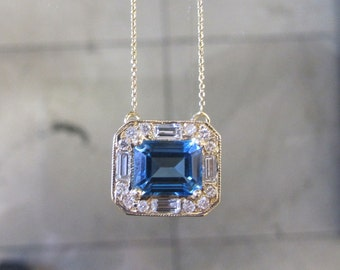 14K Gold Blue Topaz & Diamond Necklace 6J8021