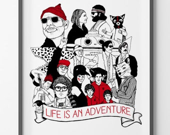 Poster Wes Anderson's universe - Life is an Adventure