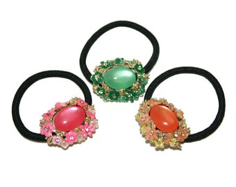 Set Of Three Elastic Ponytail Holder, Rhinestone and Enamel Flower Ponytail Holder, Pink, Peach, Green Color Pony Holder