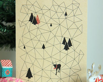 Instant Download | Printable Christmas Card | A Geometric Christmas | Geometric Christmas Landscape