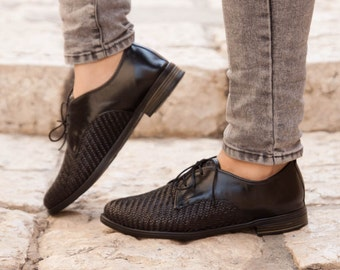 Black Leather Shoes, Woven Oxford Shoes, Close Shoes, Flat Shoes, Black Shoes , Free Shipping