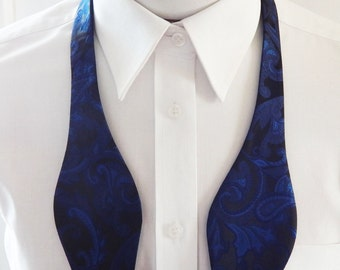 Mens Bowtie Royal Blue On Black  Paisley Self Tie Bow Tie