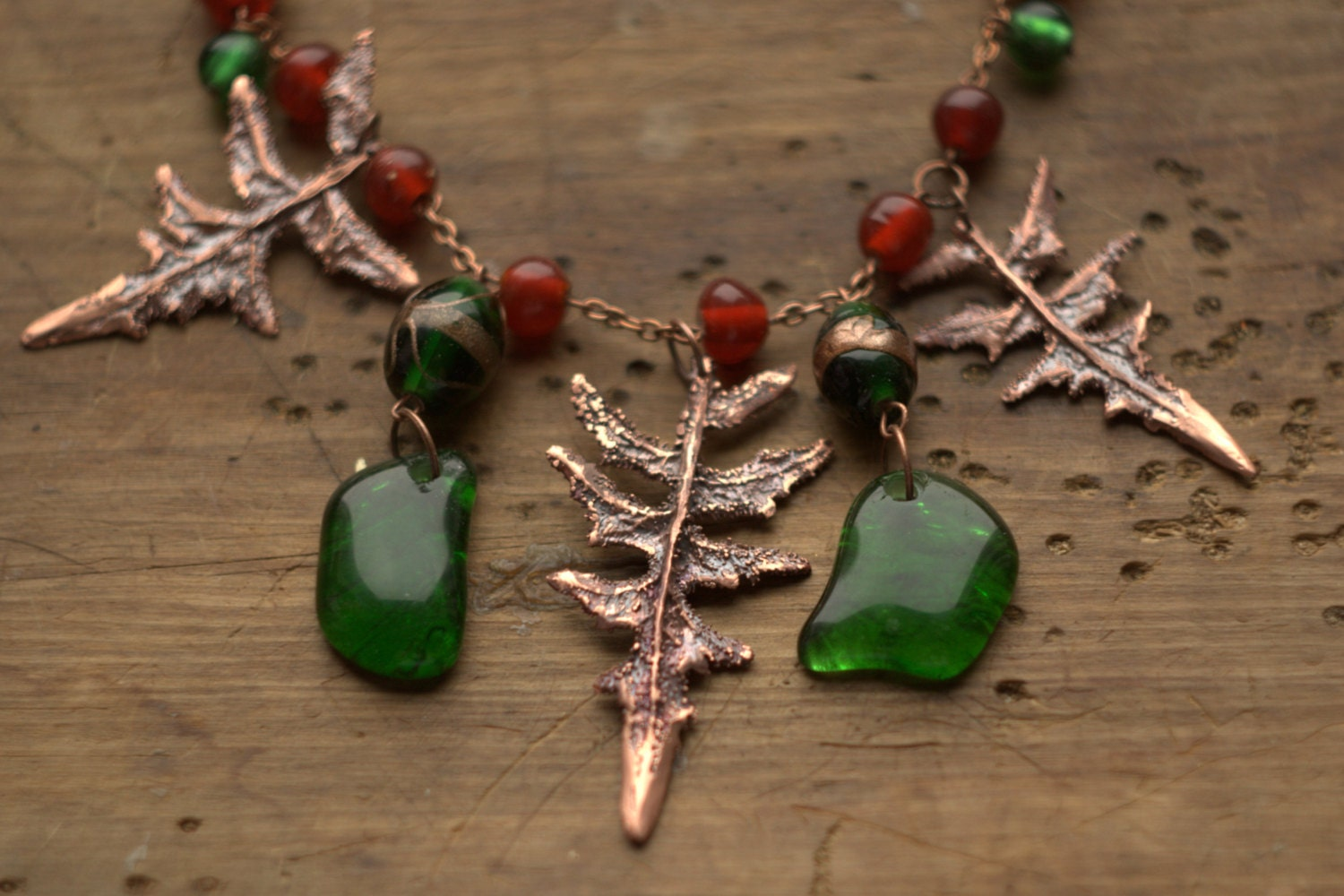 Christmas necklace,red and green, metal leaves, glass beads, handmaded glass, holiday gift, electroformed leaves, OOAK, free shipping